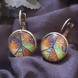 Cabachon Earrings PEACE ☮✌☮✌☮✌🕊